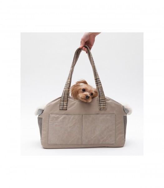 Louisdog Hundetasche - The Shoulder Bag Wool - in Sand Shel