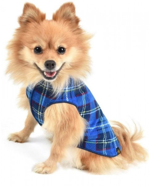 GoldPaw Stretch Fleece Pullover - Blue Plaid