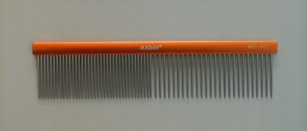 Madan Alumium Grooming Kamm - ( (Longer Teeth) - Orange