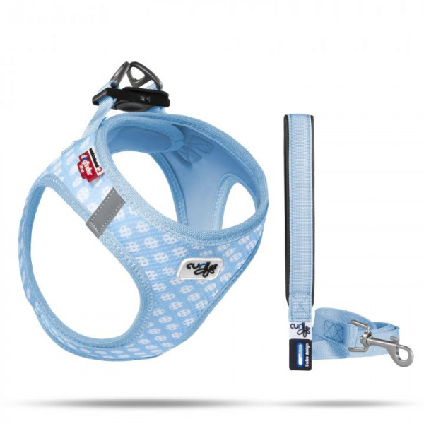 VEST GESCHIRR AIR-MESH & BASIC LEINE SKYBLUE-CIRCLES