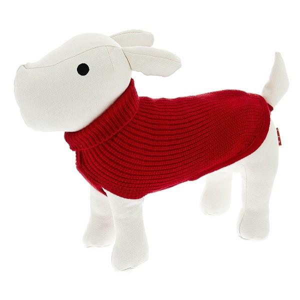 Pullover in Strick mit Rollkragen in Rot