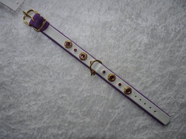 Lederhalsband Lila / weiß