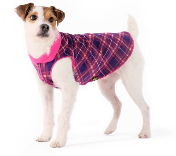 GoldPaw Stretch Duluth Double Fleece Pullover - Milberry Plaid / Fuchsia