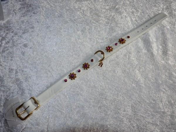 Lederhalsband in weiß