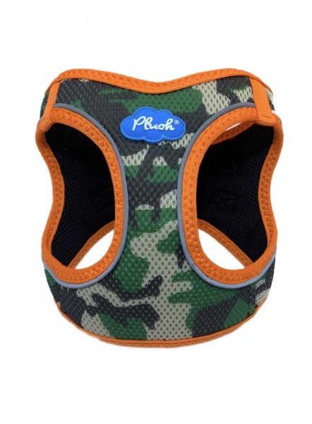 Plush Step in Air Mesh Harness / Camo - Orange