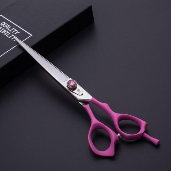 Jargem Pink Straight Scissors - gerade Schere mit weichem und ergonomischem rosa Griff