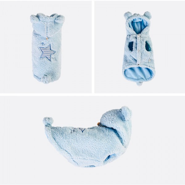 Puppy Angel Star Boa Padding Vest - BLUE