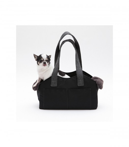 Louisdog - Huntetasche - The Shoulder Bag Wool - in Black Onyx