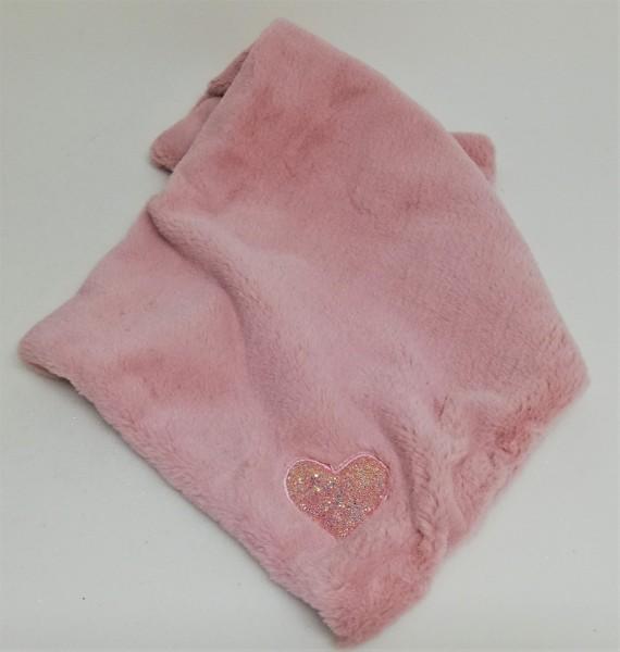 Kuscheldecke mit Herz in Rosa