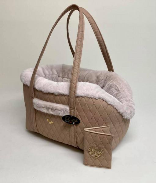 Eh Gia Hunde Tasche in gestepptem Leder und innen mit Plüsch