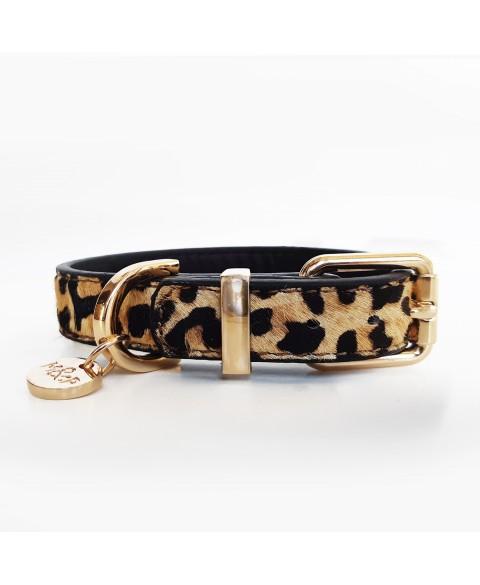 Lederhalsband Leopard Design