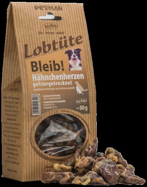 """Petman Lobtüte """"Bleib!"""" Hähnchenherzen 80g"""