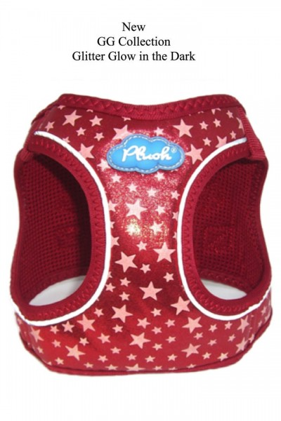 Plush Step In Air Mesh Harness- Glow & Glitter (GG) Collection / Red