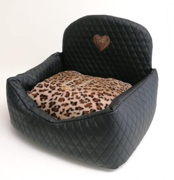 Eh Gia Car Bed in schwarz mit Leo